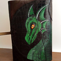 Dragon leather book cover, Fantasy book cover, Green dragon genuine leather book cover, Patchwork renaissance book cover,  Medieval