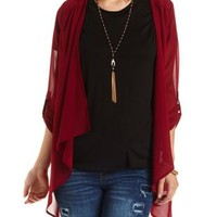 Cage-Back Chiffon Cascade Kimono Top by Charlotte Russe