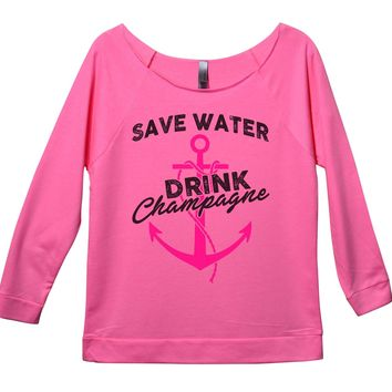 Save Water Drink Champagne Womens 3/4 Long Sleeve Vintage Raw Edge Shirt