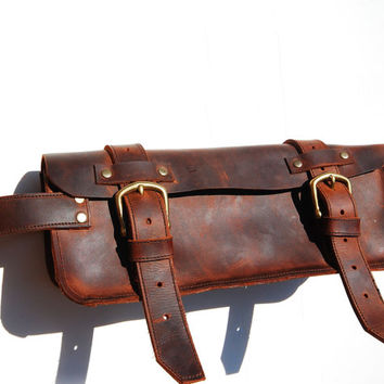 Leather dopp bag, travelin dopp kit, makeup bag, shaving kit - 100 % Made in USA One of a Kind