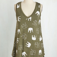 Critters Mid-length Sleeveless Who'd Have Trunk? Top by ModCloth