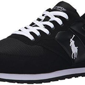 Polo Ralph Lauren Men's Slaton Pony Fashion Sneaker, Black/White,8 D US
