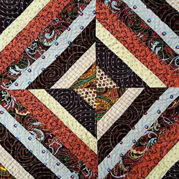"""Quilted String Tablerunner, Table Topper, Centerpiece Mat, Tablecloth – Shades of Brown, Rust, Tan, Orange and Gold – 23-1/2"""" x 23-1/2"""""""