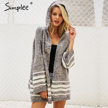 Hooded Flare Sleeve Loose Fit Striped Sweater