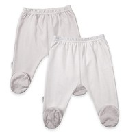 kushies® 2-Pack Solid/Striped Footed Pants in Grey