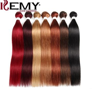 Brazilian Straight Human Hair Weave Bundles KEMY HAIR Pre-Colored 100%  Hair Extensions 8 to 26 Inch Non-Remy Hair Free Shipping