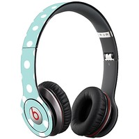 White Polka Dot on Mint Skin  for the Beats Solo HD by skinzy.com
