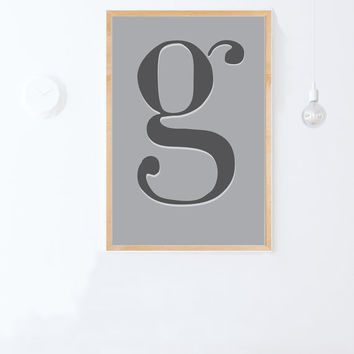Letter G Poster: Instant Download- letter G printable-Minimal House,Nursery Decor- Typography Scandinavian PRINTABLE Poster 24x36,16x20,8x10