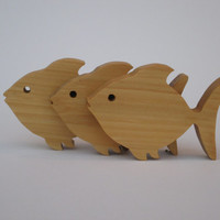 Fish - Set of Three - Freestanding - Wood - Tulipwood - Home Decor - Bathroom