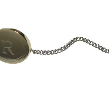 Gold Toned Etched Oval Letter R Monogram Tie Tack