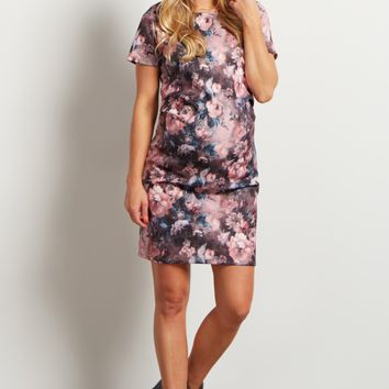 Pink-Floral-Fitted-Maternity-Dress
