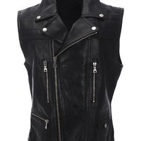 FLATSEVEN Mens Slim Fit Genuine Leather Motorcycle Classic Casual Vest
