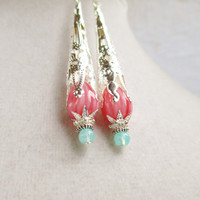 Coral Pink Drops Vintage Style Silver Filigree Cone Earrings