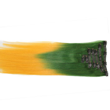 """Green/Gold (2-Toned):  21"""" Clip In Hair Extensions"""