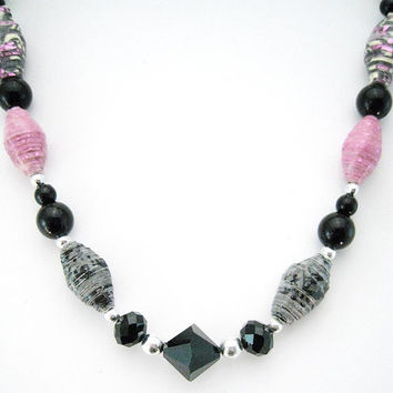 Pink and black necklace with handmade paper beads - Shabby Chic, Bohemian, OOAK, upcycled, recycled, Statement Necklace
