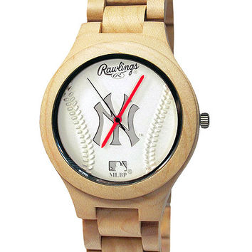 Rawlings MLB New York Yankees Genuine Maple Wooden Baseball Fan Watch