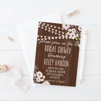 Rustic Bridal Shower Twinkle Lights Invitation Print, Custom Wood Flower Printable Wedding Invite, Printable Digital Invitation, 5x7