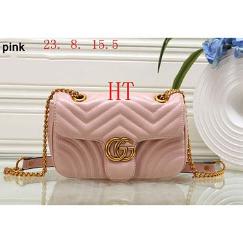 GUCCI 2018 Classic Women's Fashion High Quality Leather Chain Bag F-OM-NBPF Pink