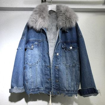 Winter Warm Denim Jacket Coat Women New Real Fox Collar + Removable Real Rabbit Hair Liner Coat Loose Thickened Denim Coat