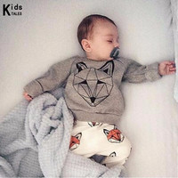 RY-166 New style cotton newborn set cartoon fox printed baby costume spring autumn t-shirt+ pants 2 pcs clothes for bebes 2017