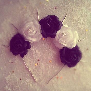 Beetlejuice  Beetlejuice Pastel goth White and Black roses flower crown with silver spikes