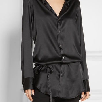 Ann Demeulemeester - Stretch-silk satin shirt