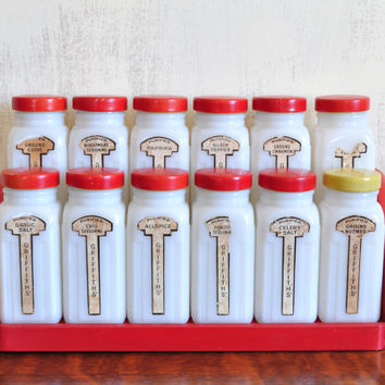 Vintage Griffiths Spice Set with Wooden Rack, Red Milk Glass Spice Bottles with Shaker Tops, Set of Twelve