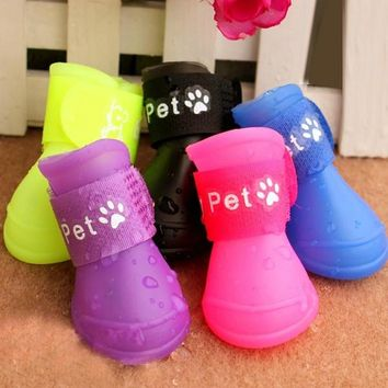 Fashion Online Fashion Candy Color Pet Dogs Rain Boots Waterproof Shoes Sandals Spring Summer - 1958784772