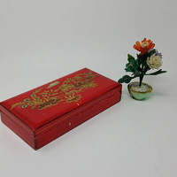 Vintage Red Wood Lacquer Asian Design Box Made in Italy