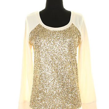 Gold and Ivory Sequin Sweatshirt Boho Sequined Sweater Perfect for Winter Gifts For Her Glitter Sweater Top Gifts Under 50