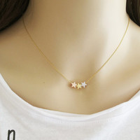 Star Charms Necklace, Three Star Necklace, Three Sisters Necklace, Gift for Mom, Gift for Sisters, Astronomy Layering Necklace / N318