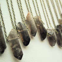 Smoky Quartz Necklace Raw Crystal Point Necklace Layering Necklace Healing Crystals Pendant Rough Smokey Quartz Chakra Necklace