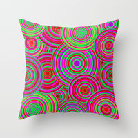 Pink and Green Retro Circle Pattern Throw Pillow by Hippy Gift Shop