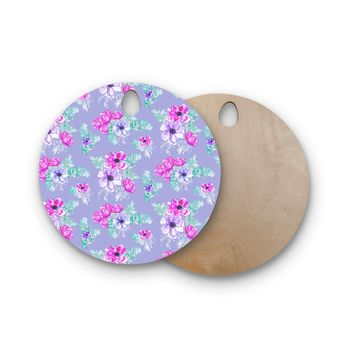 "Danii Pollehn ""Pastel Anemone Flower Meadow"" Lavender Pink Illustration Round Wooden Cutting Board"