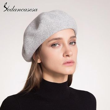 Sedancasesa Fashion Women's Cap Bonnet Beanies Cashmere Ladies Warm Soft Fur Hats for Girls Beanie Knitted Female Hat Berets