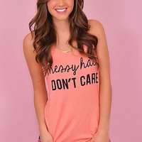 Messy Hair Dont Care Graphic Tank in Light Pink
