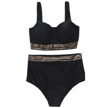 Black High Waist Two Piece Bikinis Set
