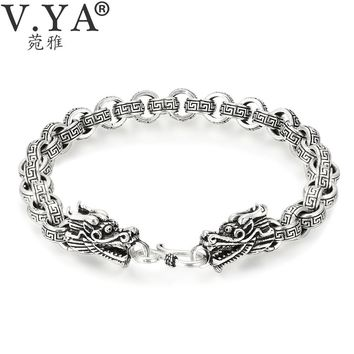 V.YA Punk Men Jewelry Thai Silver Bracelets for Men Infinity Pattern Bracelet Retro Silver Bracelet Men 7MM Dragon Wide Bracelet