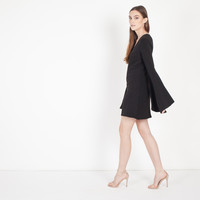 Shira Fluted Sleeve Dress (Black)