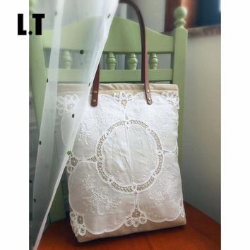 Women Shabby Chic Lace Handbags Handmade Jute Vintage Retro Wedding Crochet Canvas Lace Feminine Leather Handle Big Totes Bags