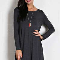 Long Sleeve Sleeve Trapeze Dress  - Charcoal