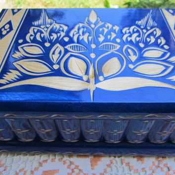 Extra Large Impossible Lock Box Wooden Jewelry Box Case Kalotart Hungary HandCrafted Blue