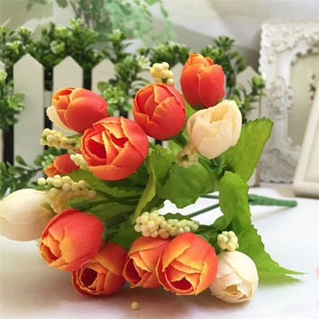 Zero 15 Heads Unusual Artificial Rose Silk Fake Flower Leaf Home Decor Bridal Bouquet
