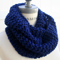 Royal Blue knit Infinity  Scarf FREE SHIPPING Hand  Knitted  Eternity Scarf Women Fashion  Winter Fashion Neckwarmer - By PIYOYO