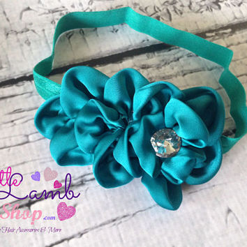 Teal Blue Sweet Baby Headband, Flower Girl Baby Headbands, Newborn Girl Head band, Infant Hair Band, Baby photography props, Canada