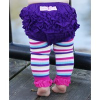 Rainbow Stripe Footless Ruffle Tights