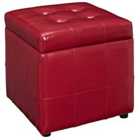Volt Storage Ottoman in Red