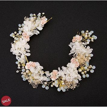 Flower with Pearl Beads Bridal Headpiece