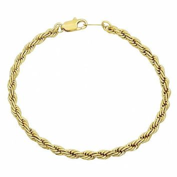 Gold Layered Basic Bracelet, Rope Design, Golden Tone