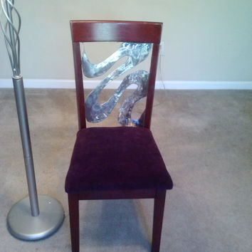 modern metal and wood chair with Eggplant upholstered seat